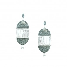 Designer Silver Plated Earring With Multiple Drop Chain