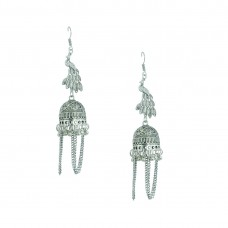 Designer Silver Plated Jhumki In Peacock Shape