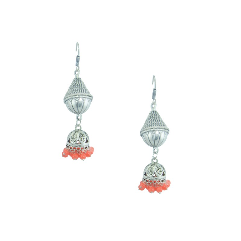 Oxidized Silver Plated Jhumki Earring  With Orange Pearls