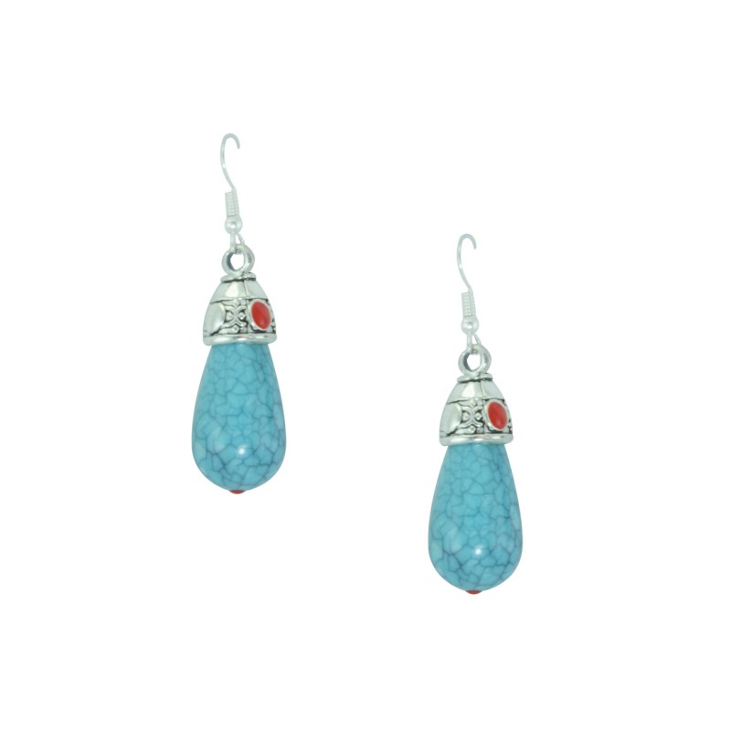 Silver Plated Beaded Earring In Sky Blue Color