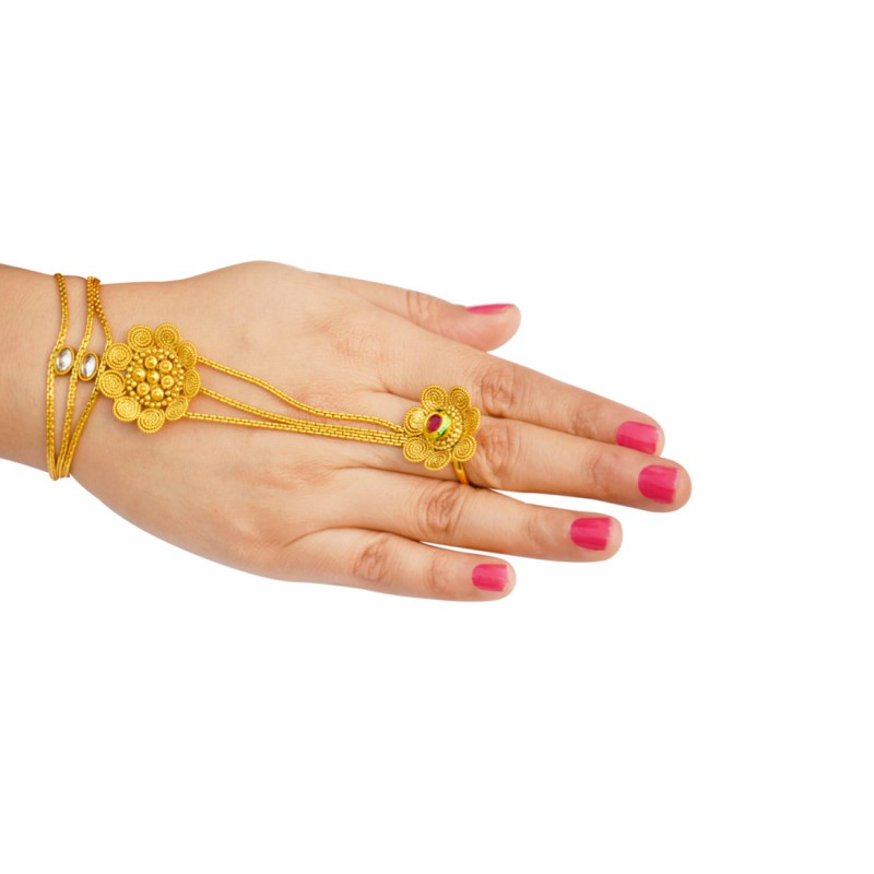 Designer Kundan Pair Haath Phool For Women