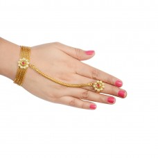 Ethnic Gold Plated Pink Stone Panja Hath Phool