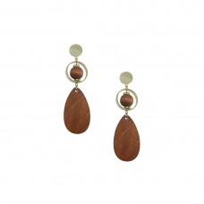 Wooden Designer Drop Dangler Earring In Brown Color