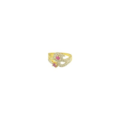 Antique Gold Plated AD Studded Ring In Pink Color