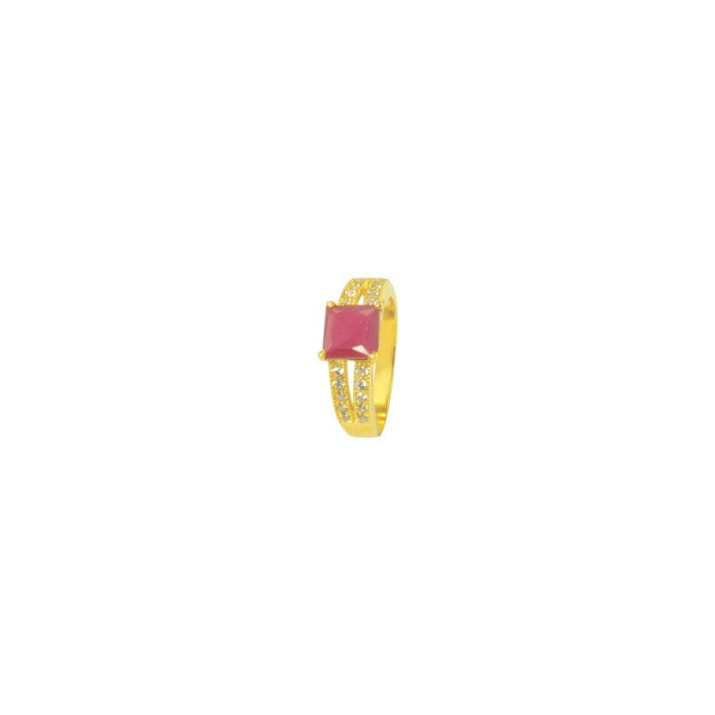 Gold Plated AD Studded Ring In Pink