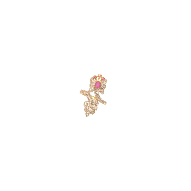 Gold Plated AD Studded Ring In Pink Color