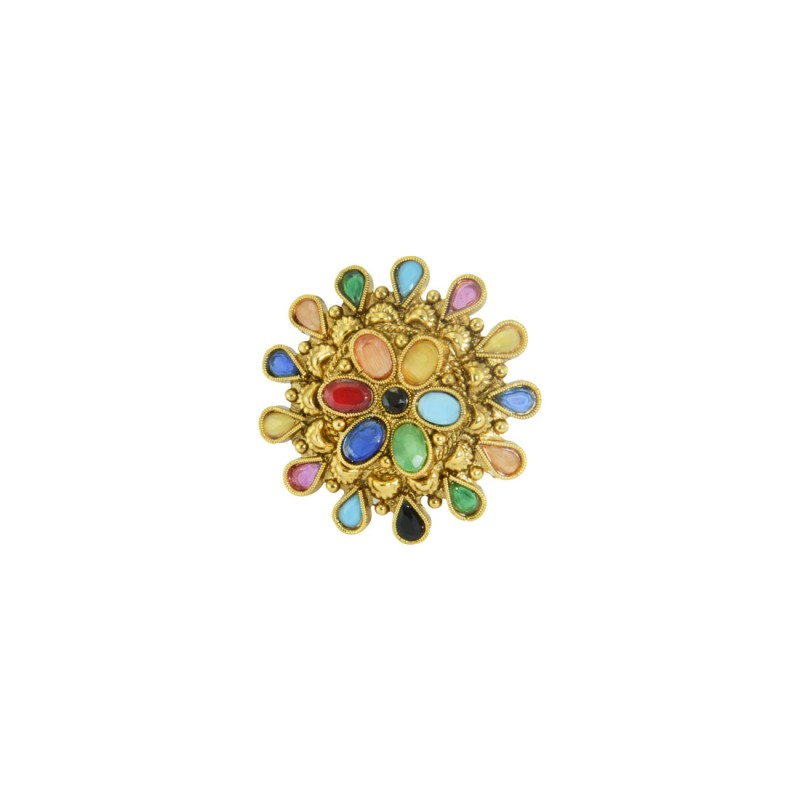 Gold Plated Multicolored Beaded Adjustable Ring