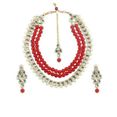 Necklace Set With Earrings For Women In Red And White Color