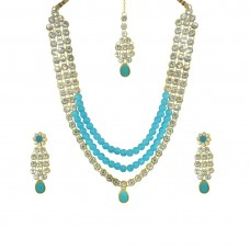 Designer Necklace, Earring & Maang Tikka Set For Women In Sea Blue Color