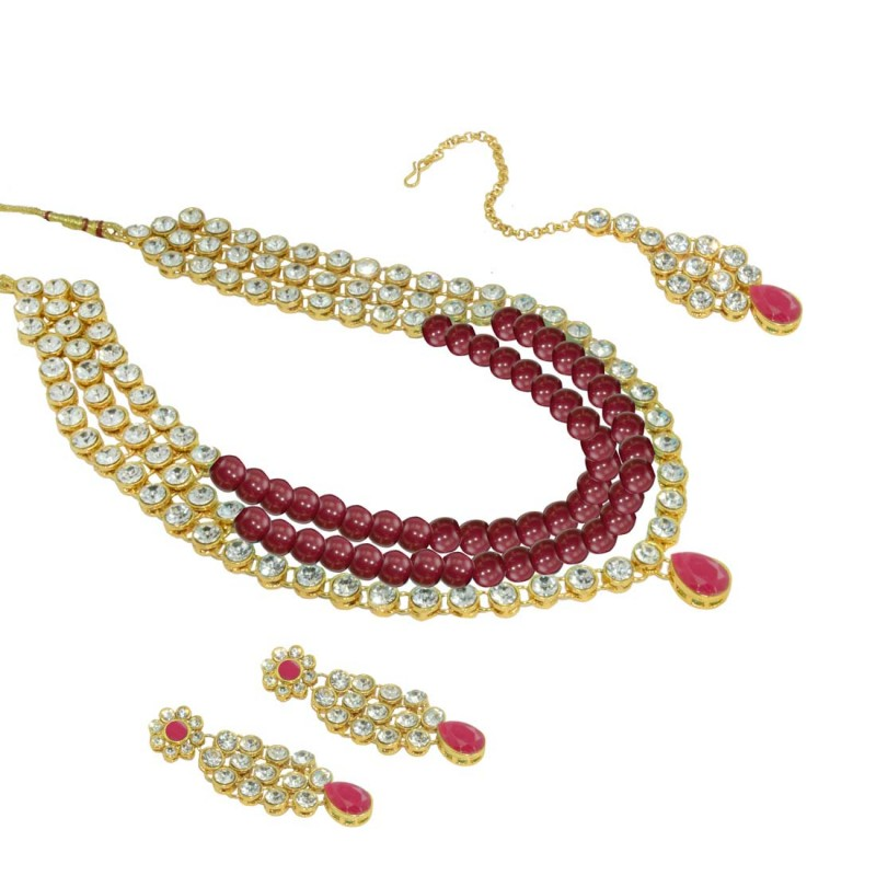 Designer Necklace, Earring & Maang Tikka Set For Women In Maroon Color