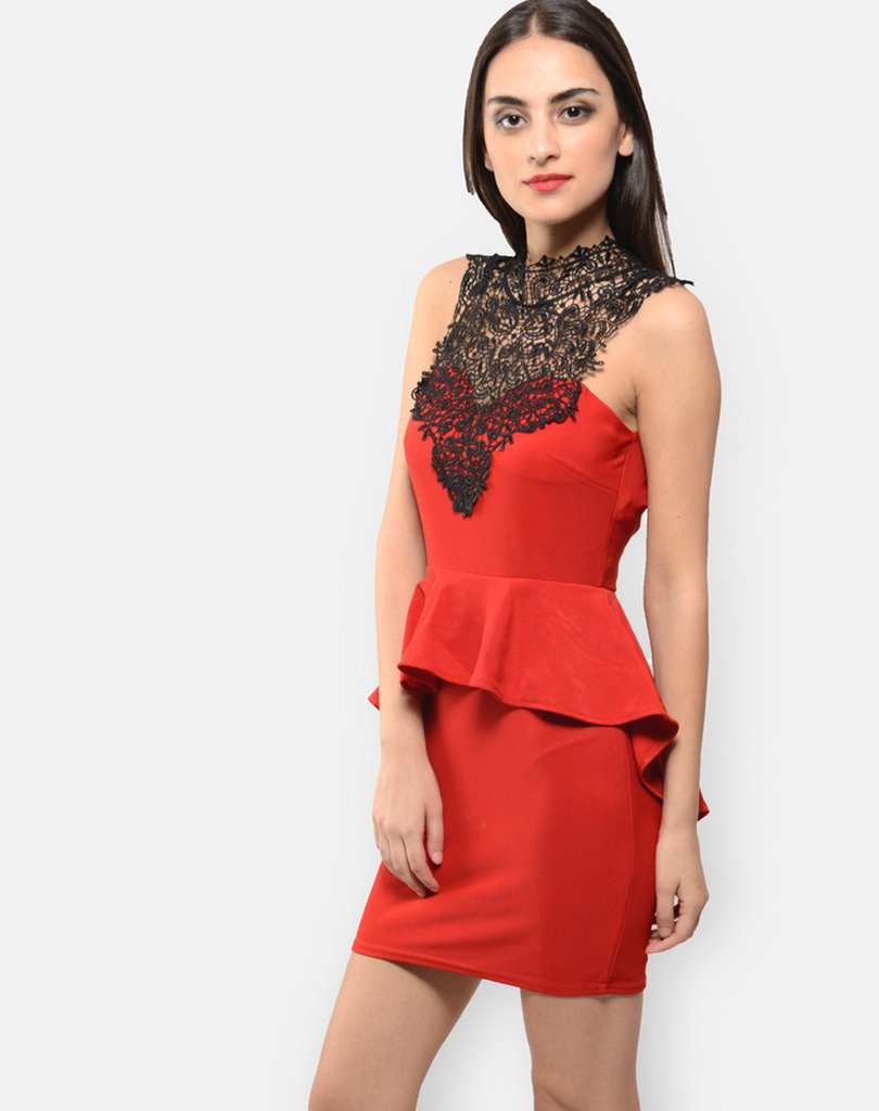 Red Peplum Dress By Shipgig