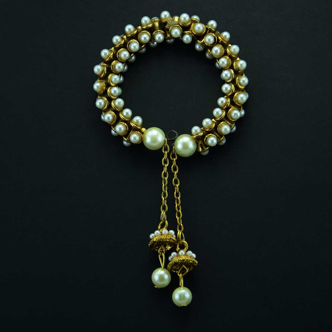 Gold Plated Beaded Bracelet With Tasseled Chain