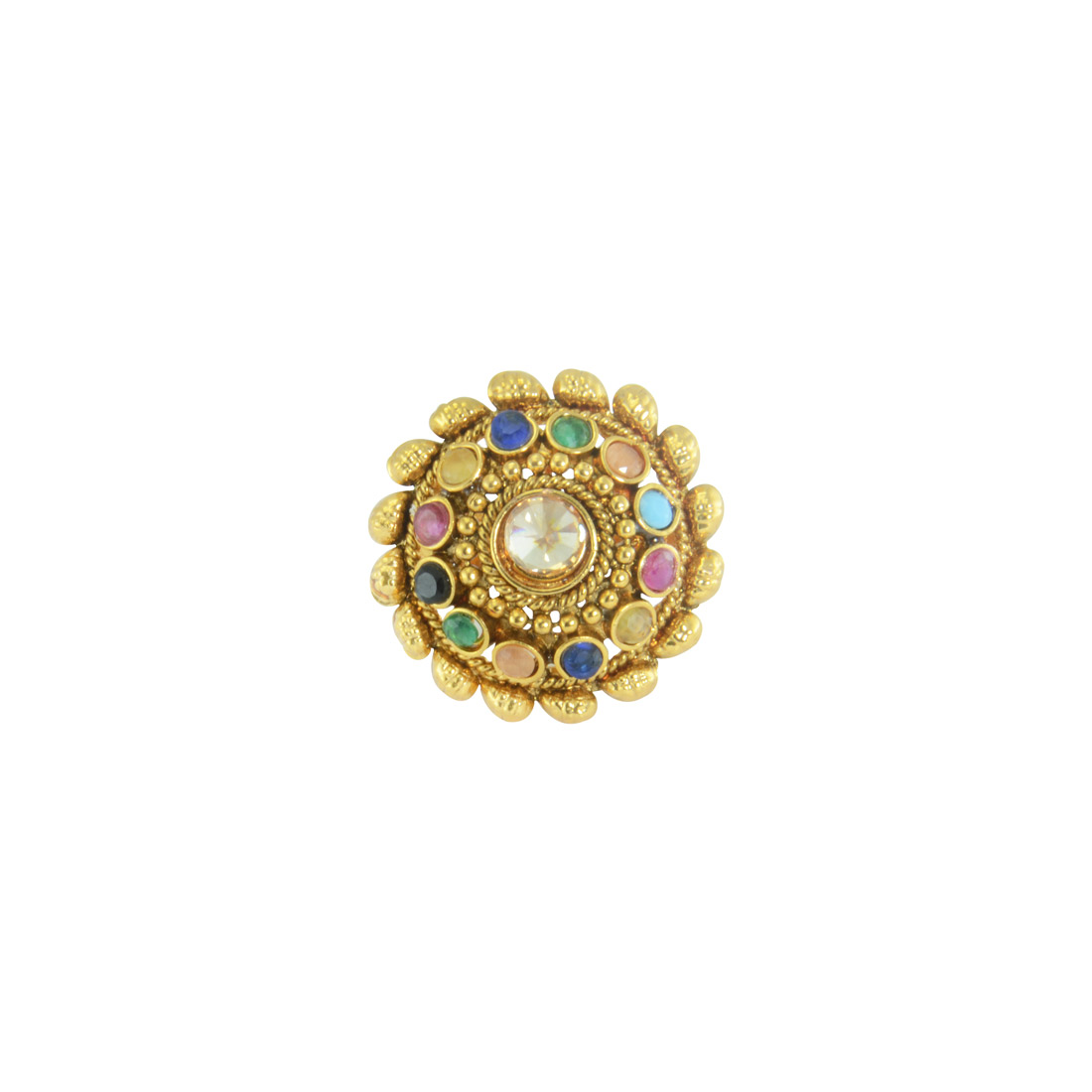 Gold Plated Multicolored Beaded Adjustable Ring_2017