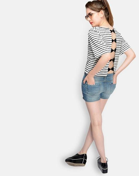Back Bow Stripes Top By Shipgig