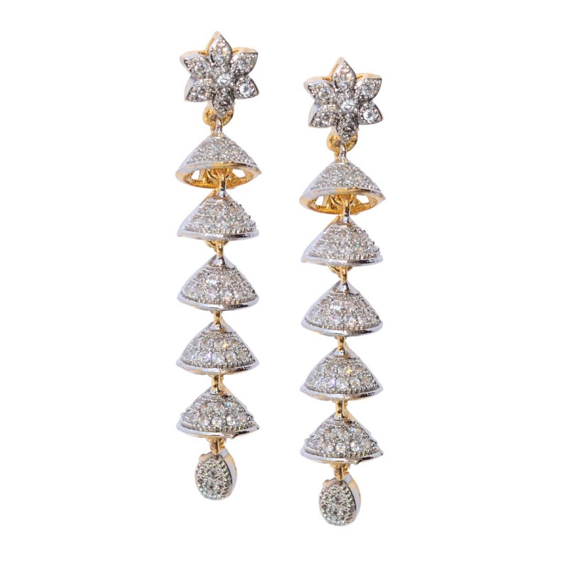 Long Statement Flower Dangler Earrings for Women and Girls
