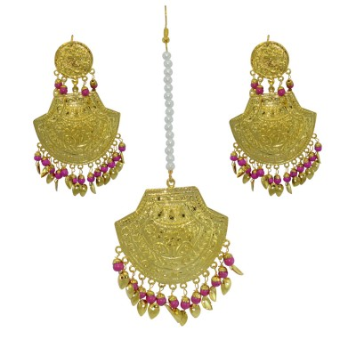 Designer Traditional Maang Tikka With Earrings