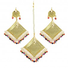 Beautiful Multicolor Pearls Maang Tikka And Earring Set