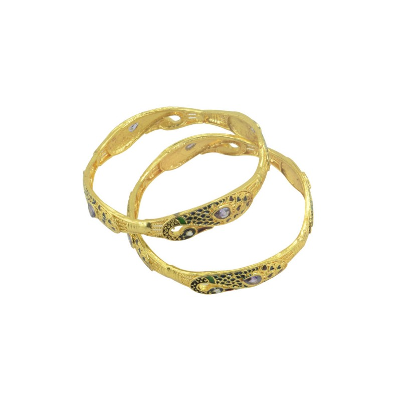 Gold Plated Set Of 2 Bangles in Peacock Design
