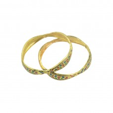 Multicolored Gold Plated Set Of 2 Bangles
