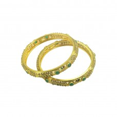 Designer Gold Plated AD Studded Set Of 2 Bangles With Green Stone