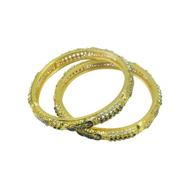 Designer Peacock Design Gold Plated AD Studded Set Of 2 Bangles