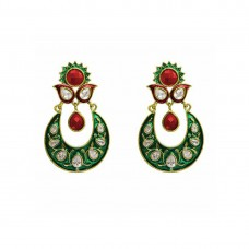 Green With Red Stones Dangler Earrings