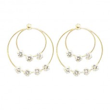 Double Layer Hoops With Shinny Stud