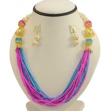 Jaipuri Necklace Set  With Pink And Ocean Blue Beads