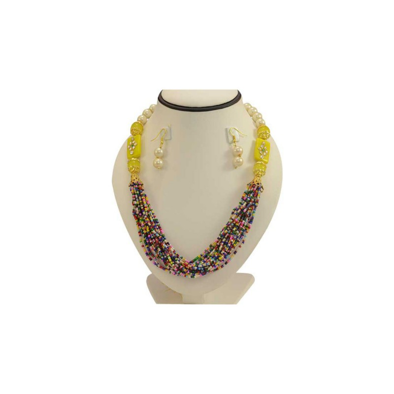 Jaipuri Colorful Necklace With Shinny Pearls Earrings