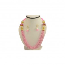 Designer Jaipuri Neck-Set In Pink Beads