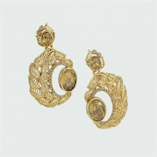 Designer Earrings with Golden Stone