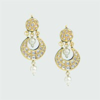 Jaipuri Pearl Drop Earrings With Ethenic Touch