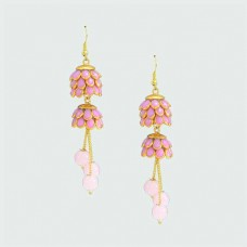 Floral Drop Dangler In Pink