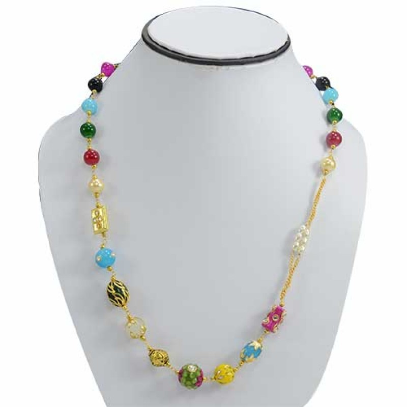 Colorful Pearls in Golden Chain Necklace