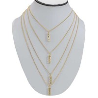 Multi Chain Crystal Necklace in Golden Color