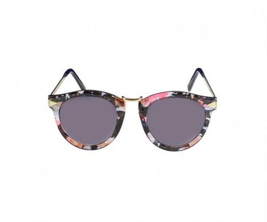 Grey Cat Eye  Sunglasses with Floral Print