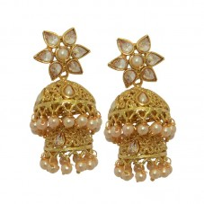 Designer Gold Plated Jhumki Earrings For Women