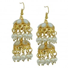 Fashion Honor  White Beaded Jhumki Earrings For Women