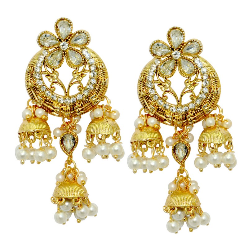 Traditional Gold Plated Jhumki Earrings for Women