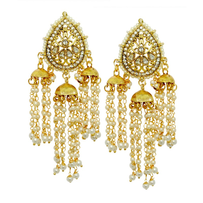 Traditional Stylish Gold Plated Pearl Fancy Party Wear Jhumka