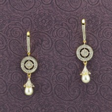 Beautiful Gold Plated Earring White Drop Pearl
