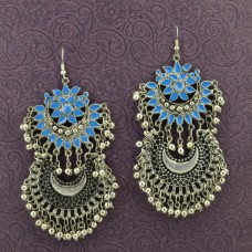 Oxidized Silver Toned Floral Drop Earrings In Blue