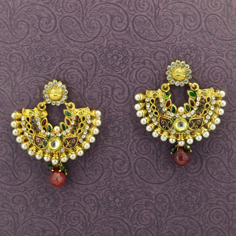 Gold Plated Chandbalis With Red Drop Stone Earrings