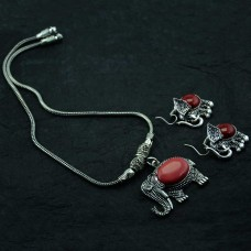 Oxidized Silver Toned Pendent Set In Red Stone