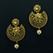 Studded Gold Plated Drop Earrings