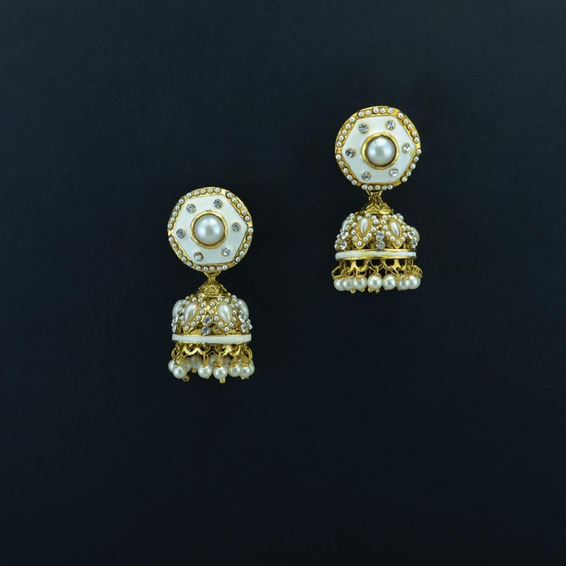 Gold Plated Jhumkis  With Off White Enamel Kundan