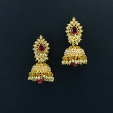 Gold Plated Jhumki With Beaded Pearls And Kundan