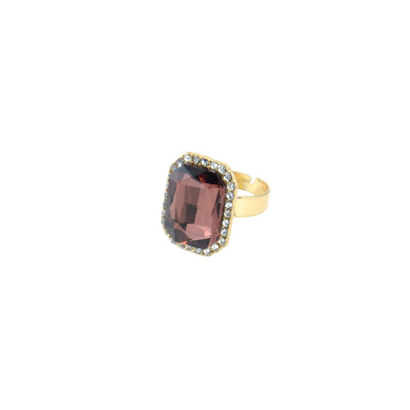 Brown Stone Ring With Princess Cut