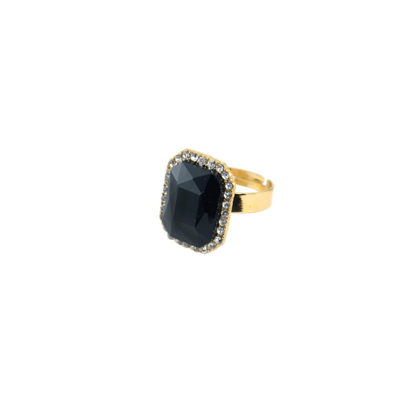 Black Stone Ring With Princess Cut
