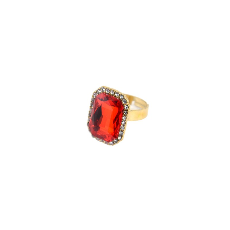 Red Stone Ring With Princess Cut